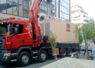 Παράδοση γεννήτριας με φορτηγό | Γονίδης γεννήτριες, ενοικίασης ηλεκτροπαραγωγών ζευγών | Gonidis generators